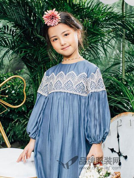瑞比克童装品牌2019春季甜美时尚韩版拼接中长款宽松大码连衣裙