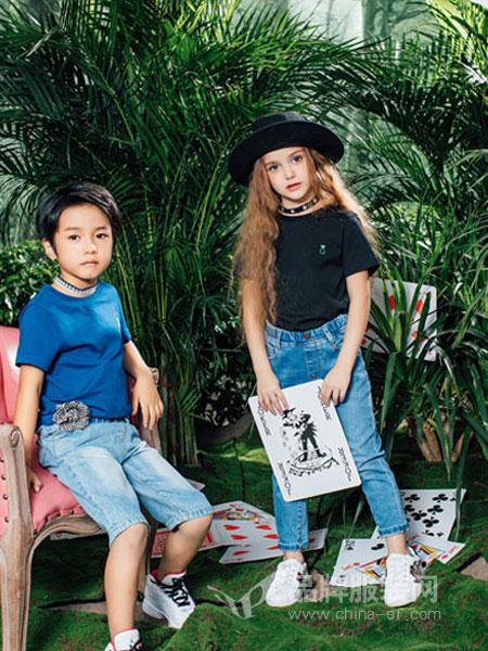 瑞比克童装品牌2019春季圆领纯色五分袖T恤上衣