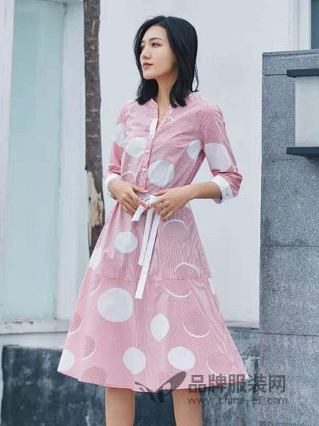 菁萝依梦女装品牌2019春季纯棉印花连衣裙中长款女宽松显瘦衬衫裙