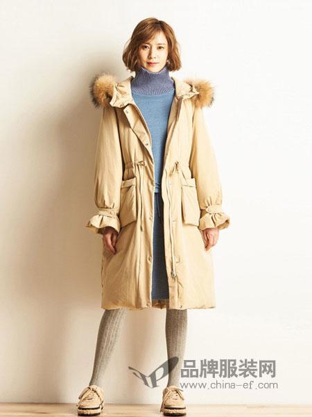 布景女装品牌2018秋冬新款文艺收腰中长款毛领白鸭绒羽绒服外套