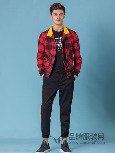 它钴TARGUO男装品牌2019春季新款男士修身翻领格子夹克衫男潮