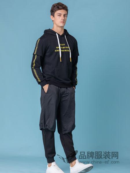 它钴TARGUO男装品牌2019春季字母款连帽运动卫衣潮