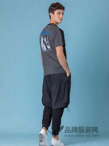 它钴TARGUO男装品牌2019春季短袖t恤字母人物印花潮流修身