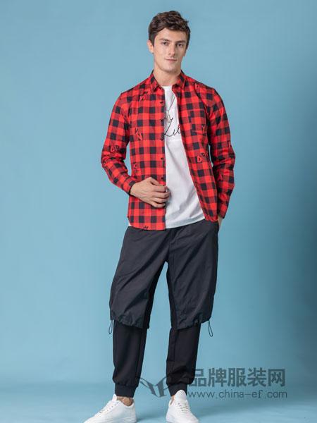它钴TARGUO男装品牌2019春季时尚格子衬衣新款黑白格子红格子衬衫