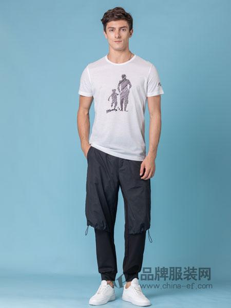 它钴TARGUO男装品牌2019春季简约刺绣老虎丝光棉圆领衫