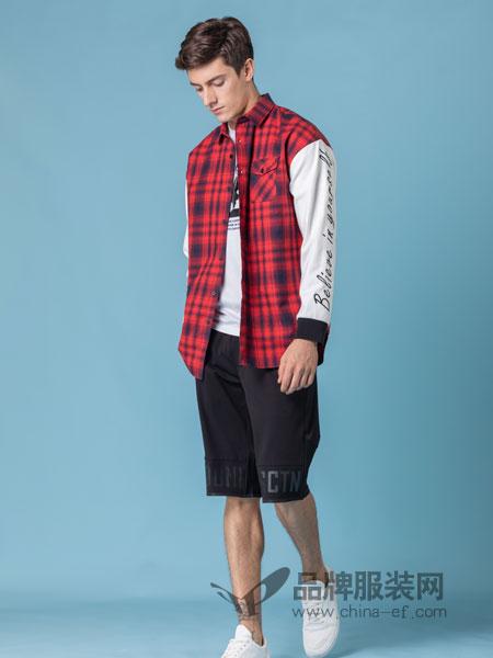 它钴TARGUO男装品牌2019春季欧美范连帽原创条纹无袖外套