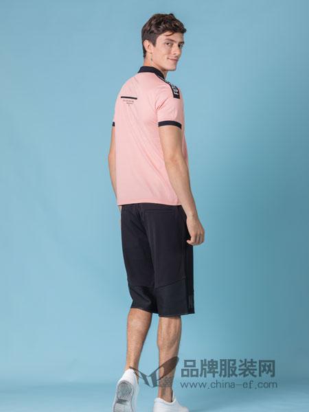 它钴TARGUO男装品牌2019春季时尚印花撞色翻领纯棉T恤