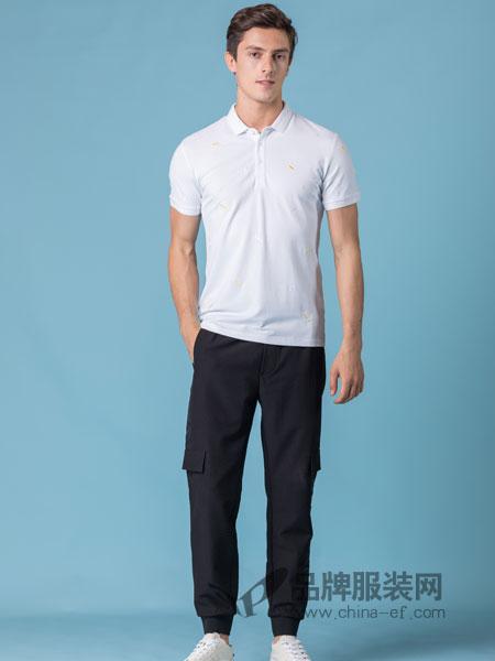 它钴TARGUO男装品牌2019春季新款印花短袖男t恤纯棉修身翻领 时尚休闲碎花