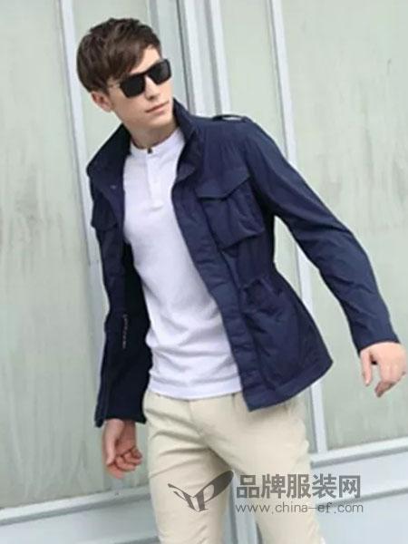 浪比时男装品牌2019春季风衣中长款连帽外套修身薄款夹克