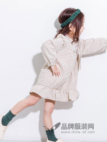 莫小汐童装品牌2019春季新款不规则波点长袖连衣裙