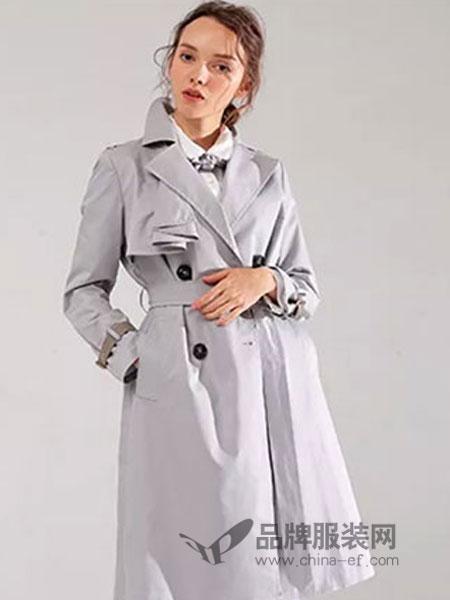范可儿女装品牌2019春季中长款双排扣卡其色休闲百搭外套