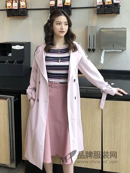 18Fans女装品牌2019春季风衣韩版收腰显瘦外套潮