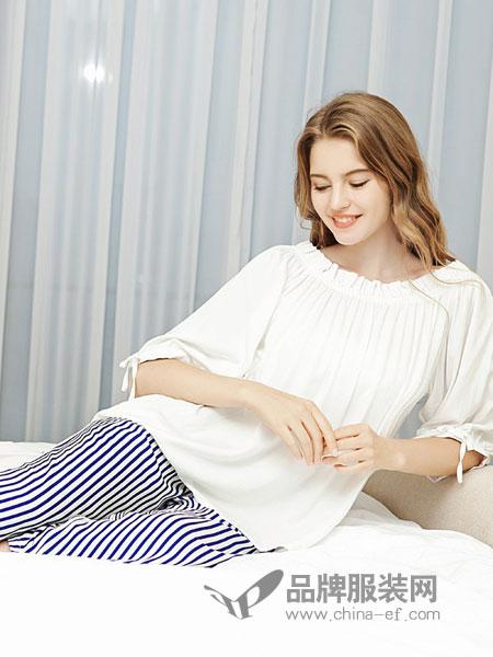 欧林雅内衣品牌2019春季甜美一字领花边褶皱露肩娃娃衫
