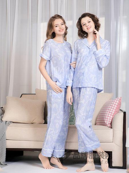 欧林雅内衣品牌2019春季新品长袖长裤清新细条纹印花开衫衬衫式家居服