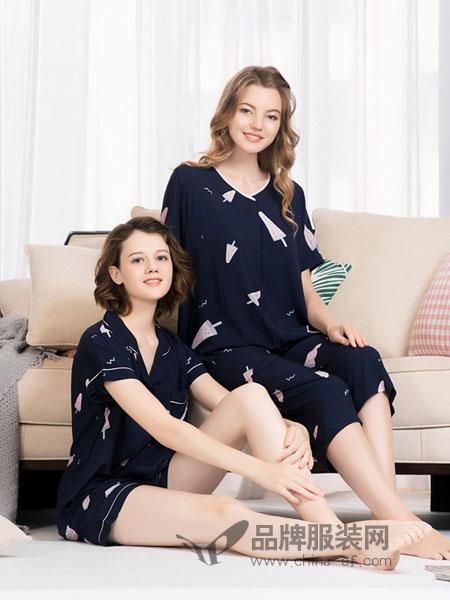 欧林雅内衣品牌2019春季宽松长袖家居服全棉睡衣