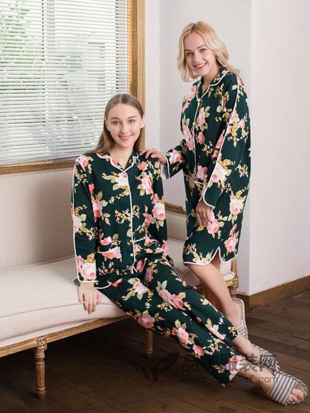 欧林雅内衣品牌2019春季纯棉花色前扣睡裙长袖翻领中长大码睡衣套装