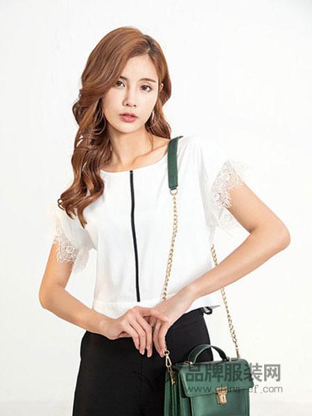 可媚女装品牌女装品牌2019春季优雅精致多种蕾丝拼接荷叶袖衬衫