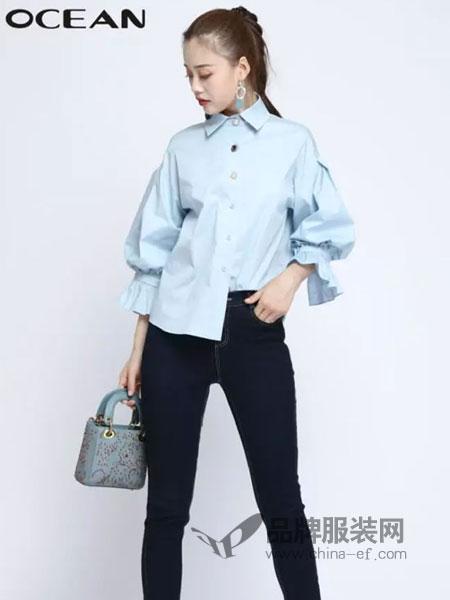 浩洋国际女装品牌2019春季单排扣纯色翻领系带潮