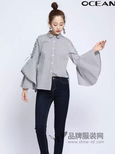 浩洋国际女装品牌2019春季荷叶边喇叭绑带袖格子宽松休闲百搭衬衫