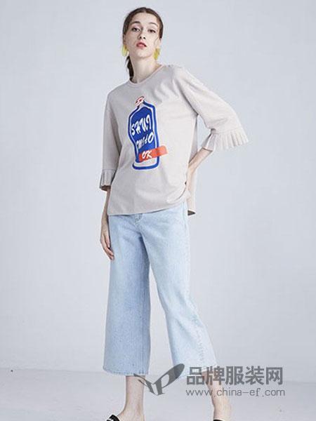 水淼女装品牌2019春夏新款七分袖显瘦T恤圆领打底衫