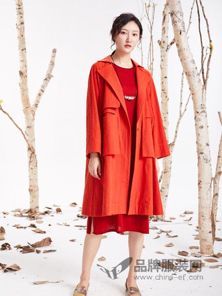 凡轩鸣一女装品牌2019春季长袖中长开衫文艺复古韩版纯色气质