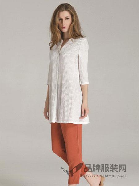 欧佩诗女装品牌2019春季新款时尚纯色中长款宽松长袖亚麻气质衬衫连衣裙