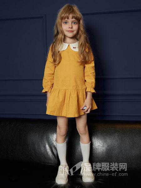 迪士尼宝宝童装品牌2019春季泡泡袖中长款少女裙 荷叶边下摆宽松娃娃衫连衣裙