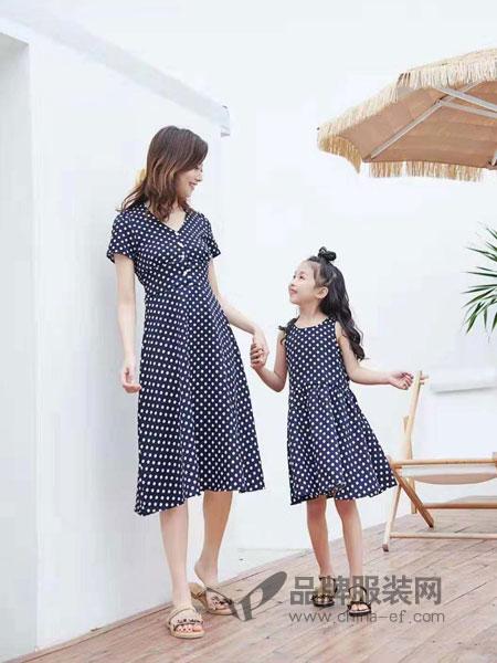 52017亲子情侣品牌2019春季洋气亲子装波点母女连衣裙