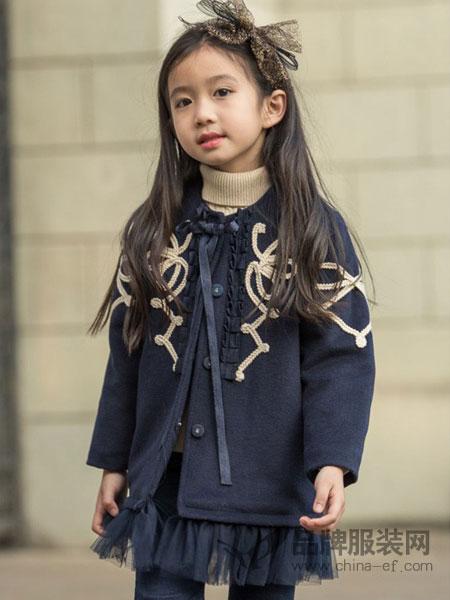 两个小朋友童装品牌新款女童针织连衣裙 宝宝网纱裙