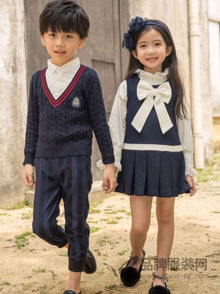 两个小朋友童装品牌中小学生校服春秋装新款幼儿园园服儿童班服英伦风红色毛衣三件套