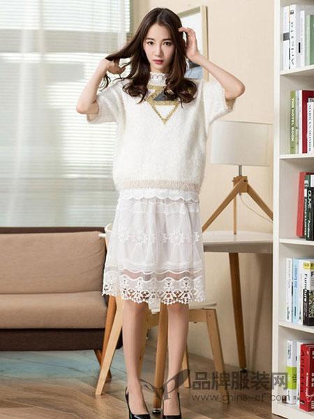 俏艺女装品牌精美蕾丝花镂空系带白色雪纺连衣裙女