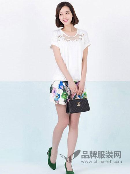 俏艺女装品牌新品简约短款圆领短袖套头宽松女