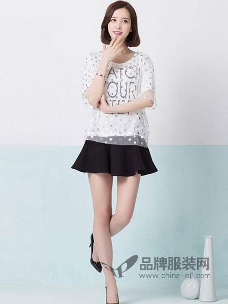 俏艺女装品牌圆领短袖宽松字母波点纱网T恤