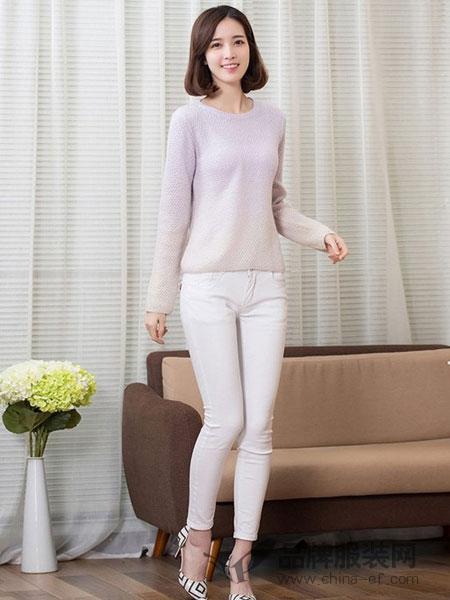 俏艺女装品牌新款纯山羊绒衫女圆领套头薄款薄款毛衣女