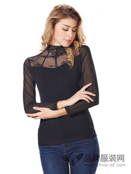 丹丽丝一族女装品牌新款蕾丝花边高领网纱打底衫女长袖弹力T恤修身显瘦黑色大码