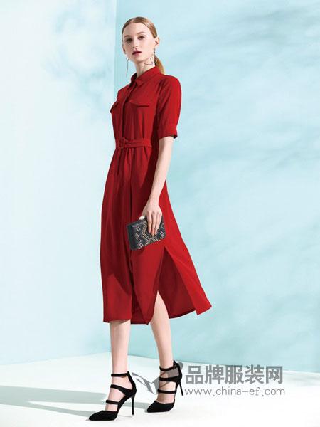 丽登雅lidengya女装品牌彩38平台2019春季连衣裙系带桑蚕丝修身显瘦中长款裙子