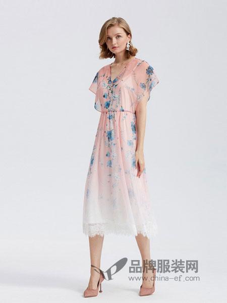 欧时力女装品牌2019春夏新款印花v领花边两件套连衣裙