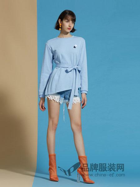 欧时力女装品牌2019春夏新款腰带宽松开叉T恤式卫衣