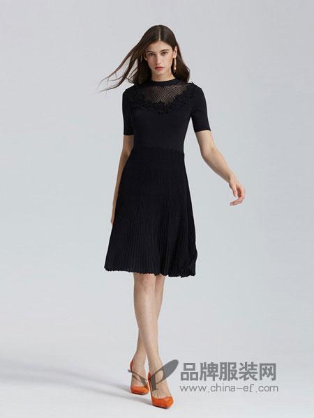 欧时力女装品牌2019春夏新款花边系带短袖针织连衣裙