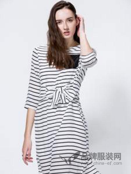 SCARTHIN女装品牌2019春夏白色条纹修身显瘦淑女连衣裙