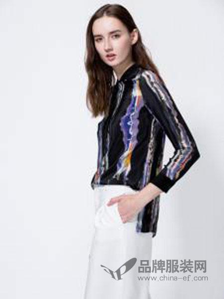 SCARTHIN女装品牌2019春夏复古撞色印染长袖衬衫文艺棉麻条纹衬衣宽松休闲随性慵懒女士上衣