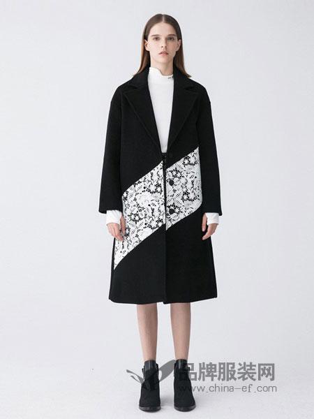 Masfer.SU女装品牌2018秋冬新款亮片拼接气质优雅大衣潮