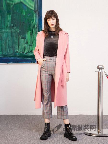 Masfer.SU女装品牌2018秋冬新款粉色长款羊毛双面呢大衣外套