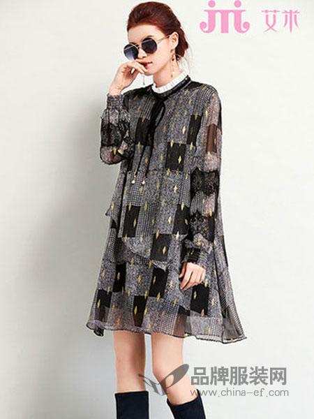 艾米女装品牌2019春季新款系带立领韩版印花显瘦雪纺连衣裙