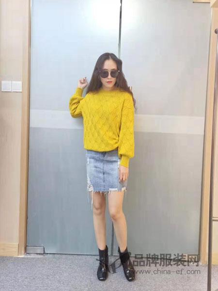 独外女装品牌2019春季新款韩版宽松针织衫外套