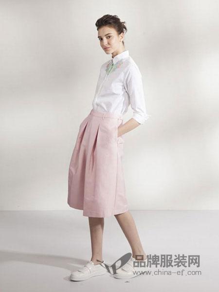 AMENPAPA女装品牌2019春夏日系隐形拉链松紧高腰显瘦女纯色中长半身裙