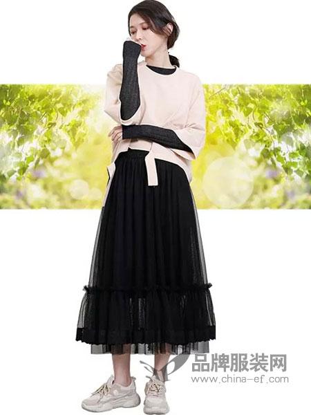 齐�K女装品牌2019春夏高腰显瘦ins超火的半身裙女新款中长款网纱仙女裙子超仙