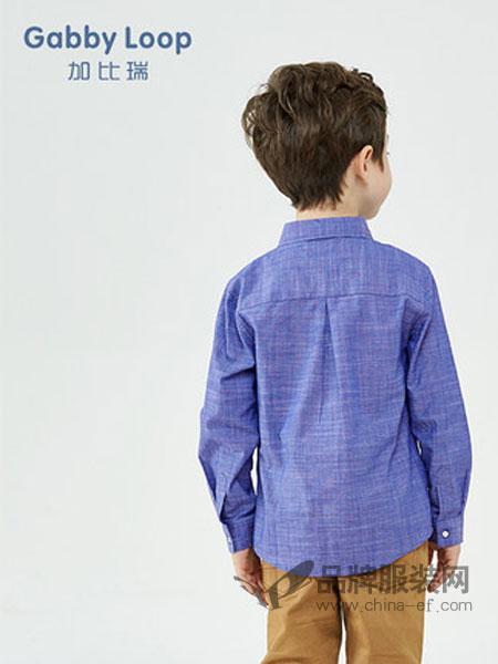 加比瑞童装品牌2019春季新品 男童翻领长袖衬衫中大童纯棉衬衣