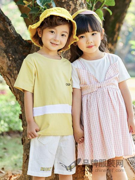 小猪宾果童装品牌2019春季宽松字母印花短袖T恤纯色简约上衣