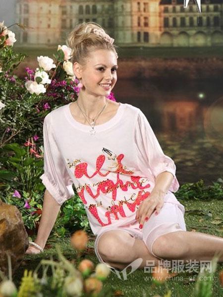 月亮堡内衣品牌2019春夏T恤式连衣裙女韩版蕾丝雪纺袖中长款字母宽松T裙